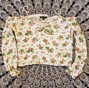 Kendall and Kylie Floral White Cold Shoulder Top